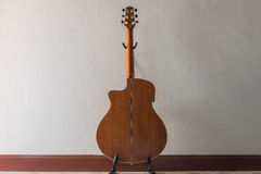 Wooden acoustic guitar. Back side of wooden acoustic guitar royalty free stock photos