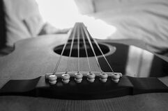 Wooden Acoustic Guitar Macro Photography in Grayscale Photo Stock Photography