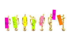 Wooden action figure with words series Royalty Free Stock Photo