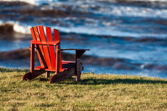 Wooden adirondack chair Royalty Free Stock Photo