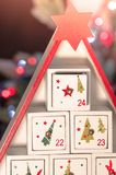 Wooden advent calendar Christmas royalty free stock photo