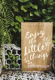 A wooden advertise board inspiration Stock Photo