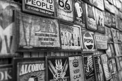 Wooden Advertisement Board. Variety of vintage wooden advertisement board in black and white. Photo was taken on 20 December 2014 Royalty Free Stock Images