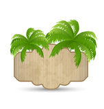 Wooden Advertising Signboard With Palms Isolated Stock Photos