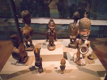 Wooden African figures on exhibit Royalty Free Stock Photo