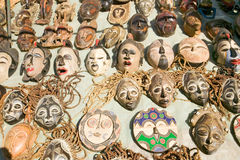 Wooden African masks for sale in Cape Town, South Africa Stock Photo