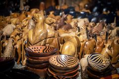 Wooden african souvenirs on sale at Cape Town market stock photo