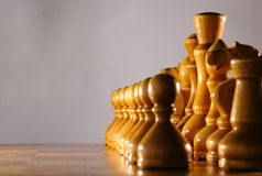 Wooden aged chesspieces Royalty Free Stock Image