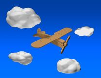 Wooden airplane flying on blue sky background with 3d clouds. Wooden airplane flying on blue sky background with 3d clouds, aviation idea Royalty Free Stock Photo