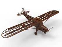Wooden airplane frame. 3D rendered illustration of a wooden airplane frame. The object is  on a white background with shadows Stock Photography