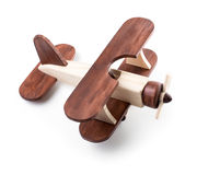 Wooden airplane model from above view isolated Stock Images