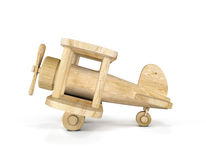 Wooden airplane model isolated over white background. Concept air plane. 3d illustration Royalty Free Stock Photos