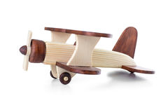 Wooden airplane model side view isolated Royalty Free Stock Photo