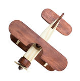 Wooden airplane model top view isolated Stock Images