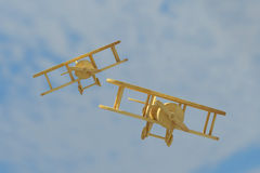 Wooden airplanes. 3d rendering of a wooden airplanes on the sky Royalty Free Stock Photography