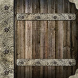Wooden album cover with an iron rootlet Royalty Free Stock Photos