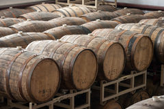 Wooden Alcohol Barrels Stock Image