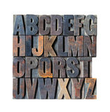 Wooden Alphabet. A Vintage Wooden Letterpress Alphabet on a White Background stock images