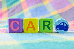 Wooden alphabet blocks - Car. Wooden alphabet blocks with the word car Stock Images