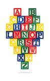 Wooden Alphabet Blocks isolated on white background. A set of children`s wooden alphabet blocks.Close-up of ABC blocks A-Z isolated on white background Royalty Free Stock Image