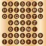 Wooden alphabet blocks with letters and numbers. Royalty Free Stock Photo