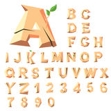 Wooden alphabet blocks. With letters and numbers, set with all letters Stock Photo