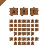 Wooden alphabet blocks with letters and numbers in wood texture area with outline. ABC font for your text message, title or logos Stock Photos
