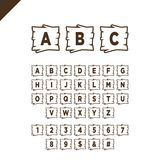 Wooden alphabet blocks with letters and numbers in wood texture area with outline. ABC font for your text message, title or logos. Design. White background Stock Illustration
