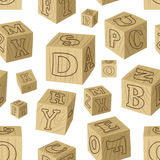 Wooden alphabet blocks pattern Royalty Free Stock Images