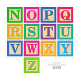Wooden alphabet blocks Stock Images