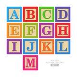 Wooden alphabet blocks. Set 1 Royalty Free Stock Images