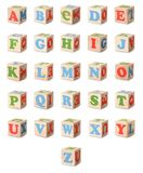 Wooden alphabet blocks Royalty Free Stock Images