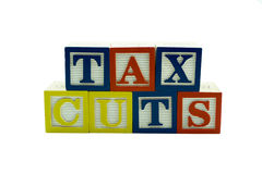 Wooden Alphabet Blocks Spelling Tax Cuts Royalty Free Stock Photos