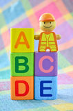 Wooden alphabet blocks toy Stock Images