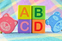 Wooden alphabet blocks toy Stock Photo