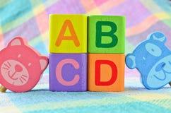 Wooden alphabet blocks toy. Close up wooden alphabet blocks toy Stock Photo