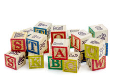 The wooden alphabet blocks royalty free stock image