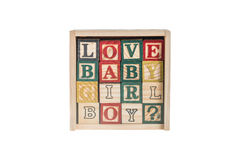 Wooden alphabet blocks,wooden toy cubes Royalty Free Stock Image