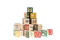 Wooden alphabet blocks,wooden toy cubes Stock Photos