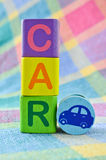 Wooden alphabet blocks. With the word car Stock Photos
