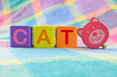 Wooden alphabet blocks. With the word cat royalty free illustration