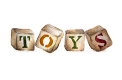 "The wooden alphabet blocks with word ""TOYS"". Royalty Free Stock Image"