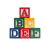 Wooden alphabet cubes with ABC letters. Isolated Royalty Free Stock Photos