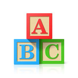 Wooden alphabet cubes with A,B,C letters Royalty Free Stock Photos