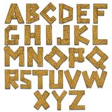 Wooden alphabet engraving vector illustration Royalty Free Stock Images