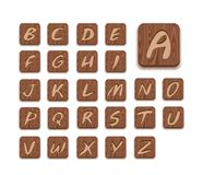 Wooden Alphabet Icon Set Royalty Free Stock Photography