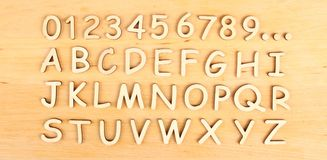 Wooden alphabet. Include numerals Stock Photography