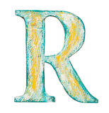 Wooden alphabet letter. Colorful grungy handmade alphabet letter. Made of wood covered with paint Stock Image