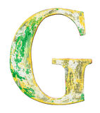 Wooden alphabet letter. Colorful grungy handmade alphabet letter. Made of wood covered with paint Stock Photography