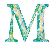 Wooden alphabet letter. Colorful grungy handmade alphabet letter. Made of wood covered with paint vector illustration